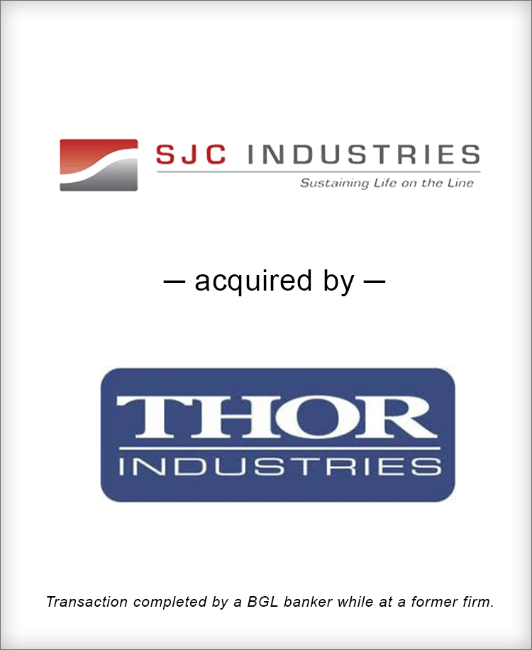 Image for SJC Industries acquired by Thor Industries Transaction