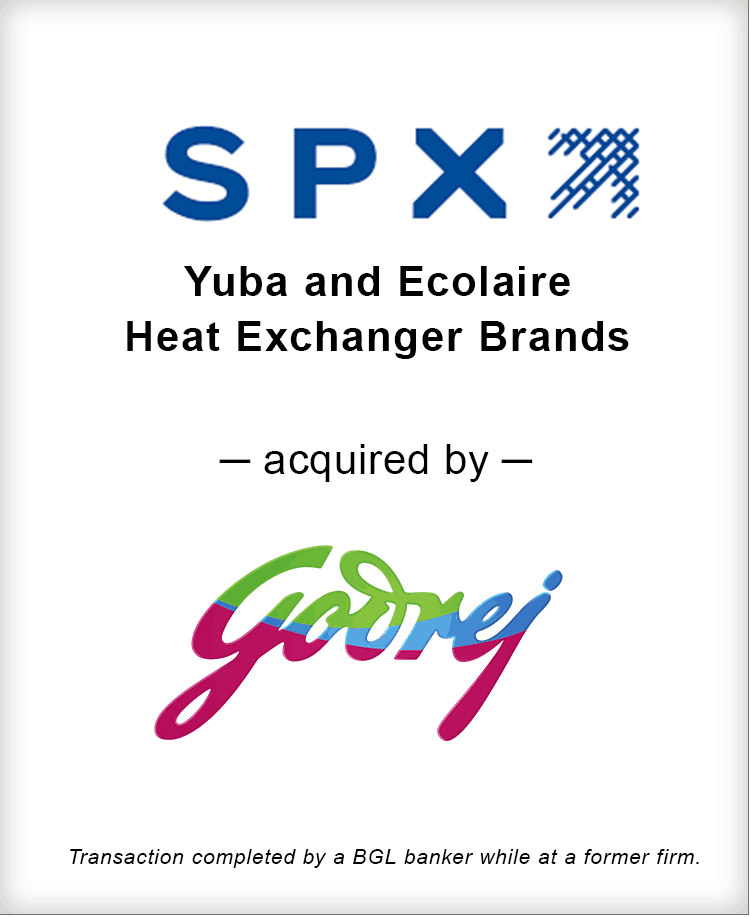Image for SPX Corporation Yuba and Ecolaire Heat Exchanger Brands Acquired by Godrej Process Improvement Transaction