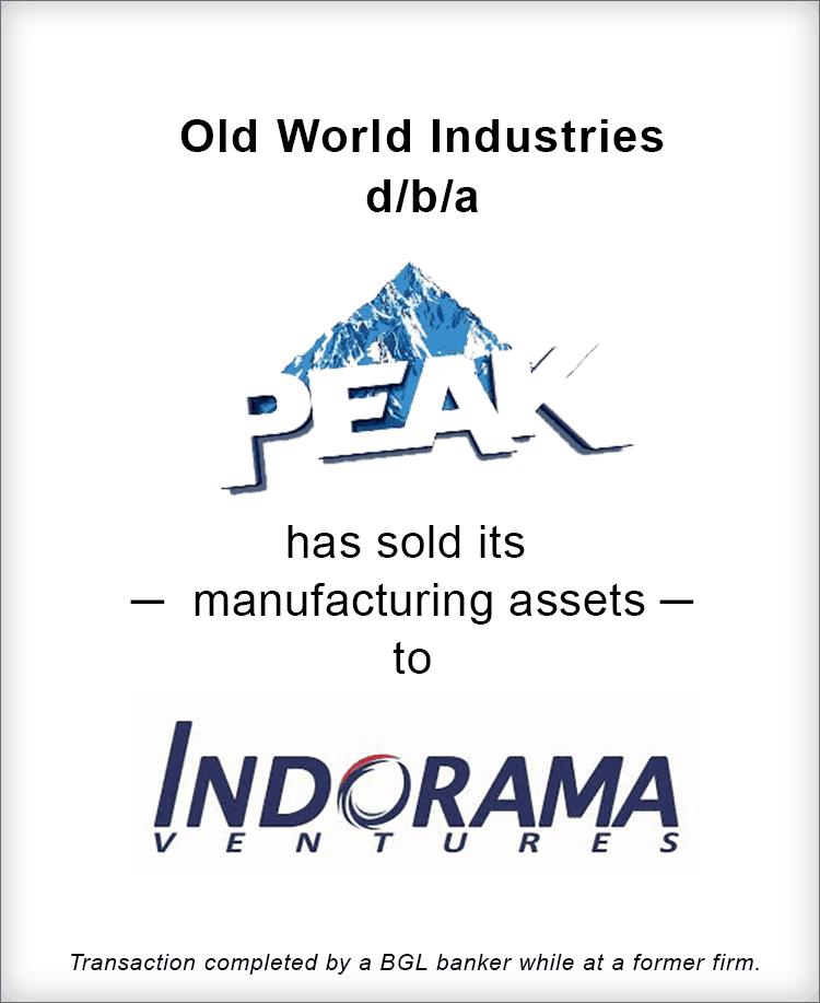 Image for PEAK Sale of Manufacturing Assets to Indorama Ventures Transaction