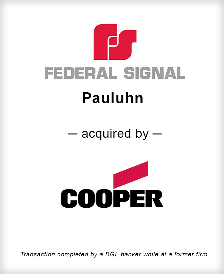 Image for Federal Signal Pauluhn Acquired by Cooper Industries Transaction