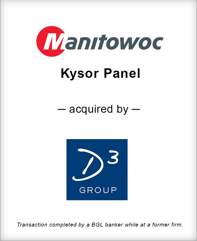 Image for Manitowoc Kysor Panel Acquired by D Cubed Group Transaction