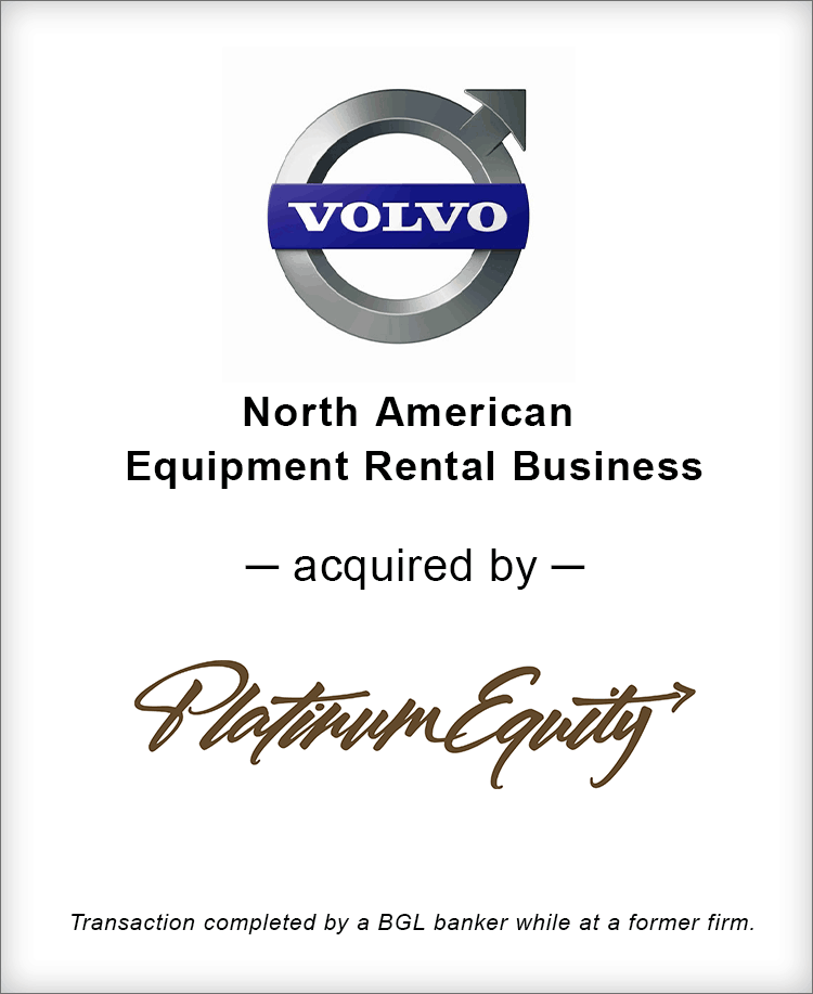 Image for Volvo North American Equipment Rental Business Acquired by Platinum Equity Transaction