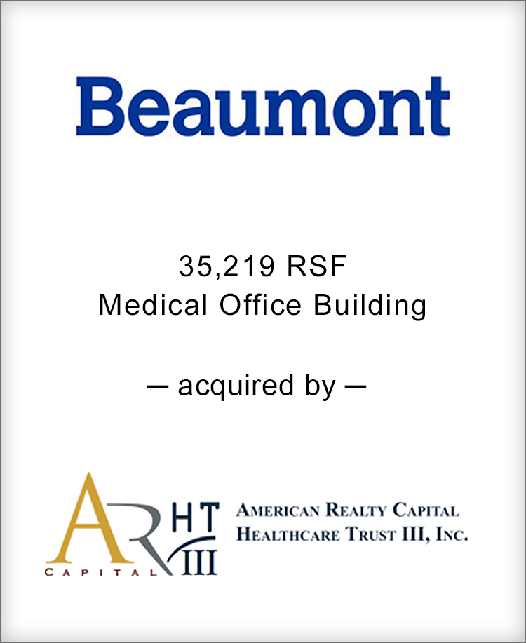 Image for BGL Announces the Real Estate Sale of Beaumont Medical Center Press Release