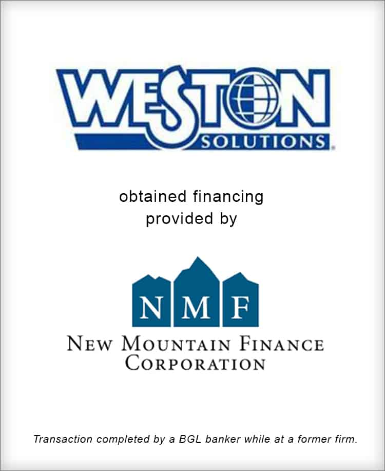 Image for Weston Solutions Completes Senior Subordinated Debt Financing from New Mountain Finance Corporation Transaction