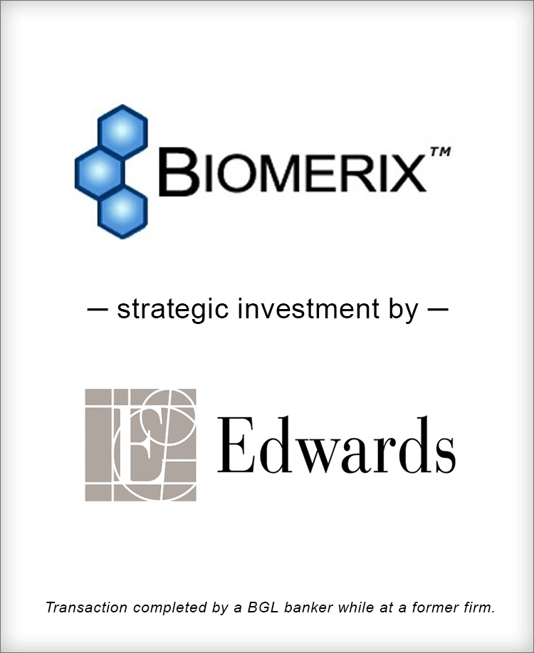 Image for Biomerix Strategic Investment from Edwards Transaction