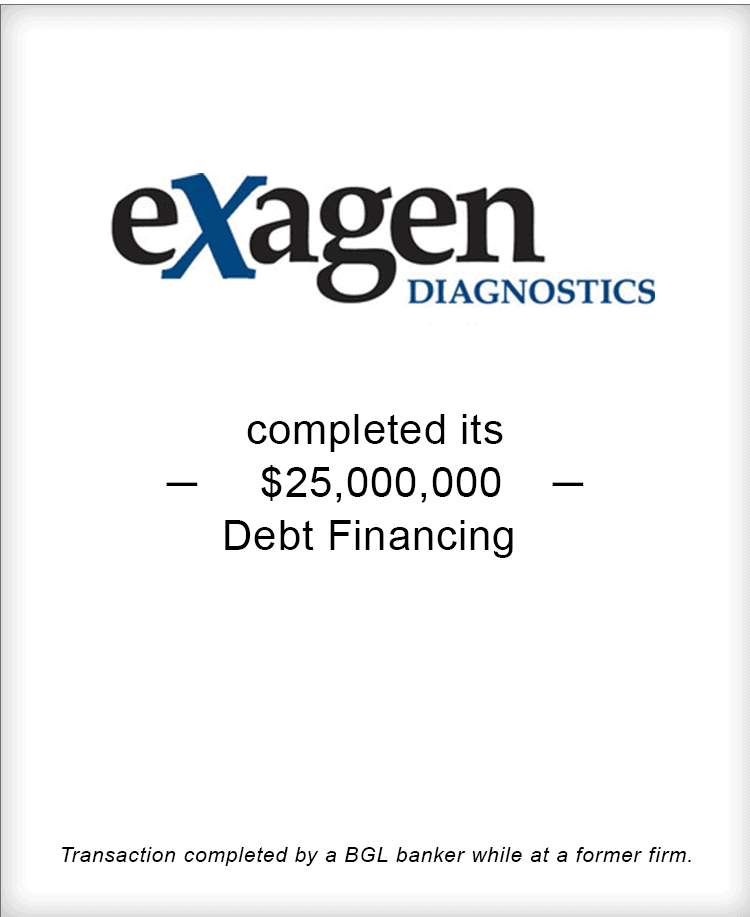 Image for Exagen Diagnostics Completes its $25M Debt Financing Transaction