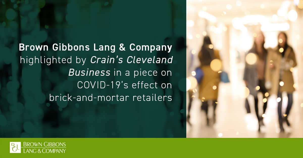 """Image for BGL mentioned in, """"COVID-19 smacks Northeast Ohio's already-ailing malls,"""" Crain's Cleveland Business Media Coverage"""