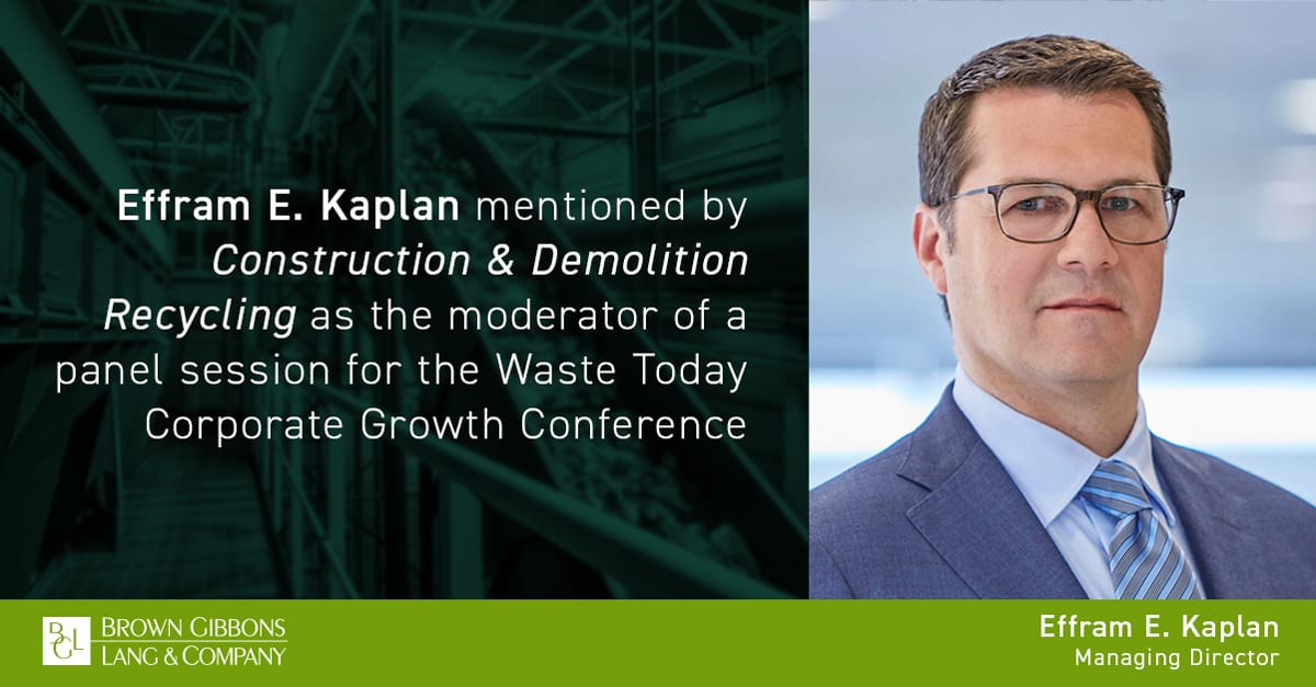 """Image for Effram E. Kaplan mentioned in, """"Waste leaders discuss challenges of 2020, forecast industry 2021,"""" Construction & Demolition Recycling Media Coverage"""