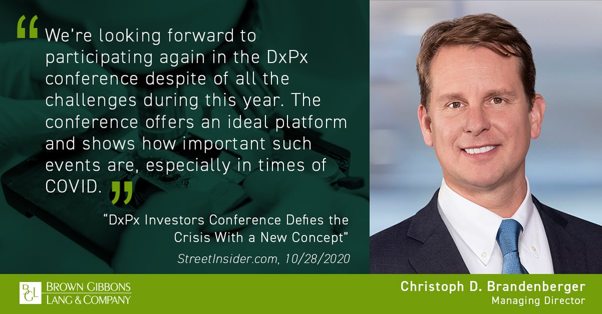 """Image for Christoph D. Brandenberger quoted in, """"DxPx Investors Conference Defies the Crisis With a New Concept,"""" StreetInsider.com Media Coverage"""