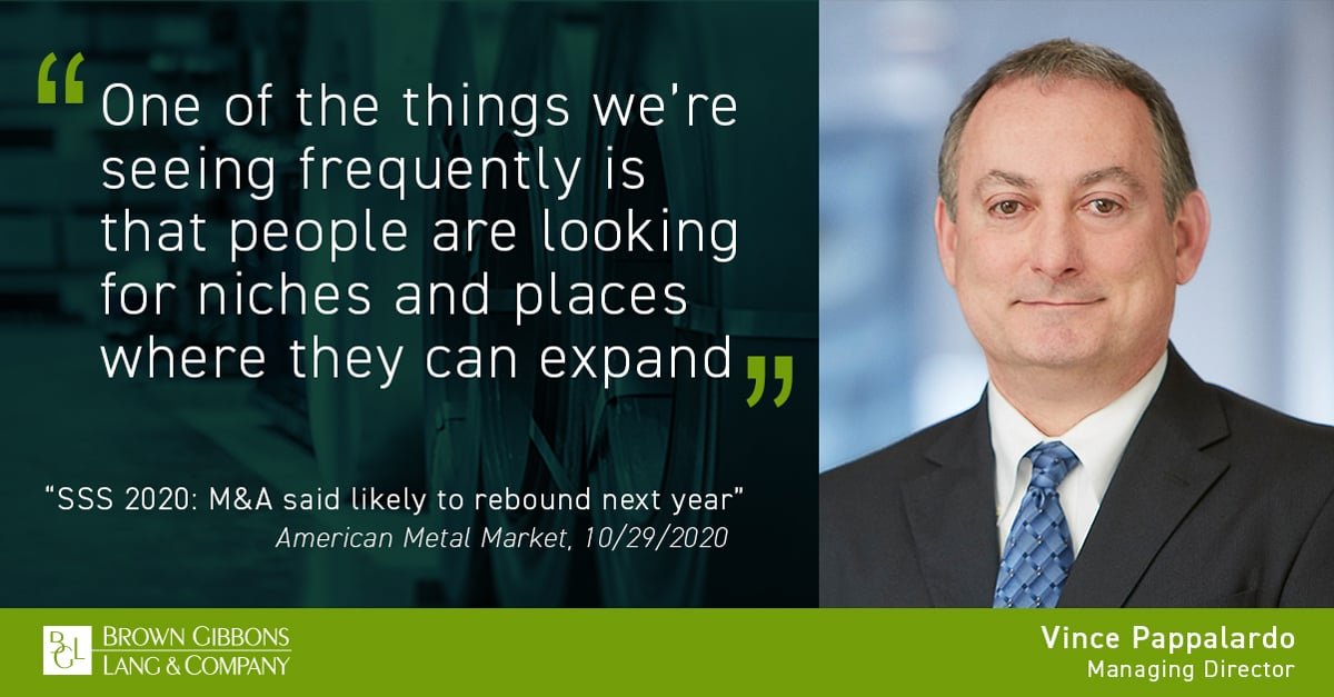 """Image for Vince Pappalardo quoted in, """"SSS 2020: M&A said likely to rebound next year,"""" American Metal Market, Fastmarkets AMM Media Coverage"""