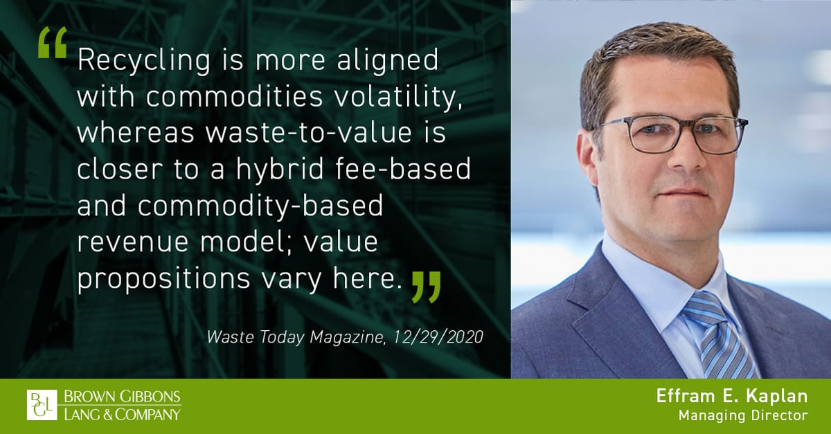"""Image for Effram E. Kaplan quoted in, """"2020 waste industry M&A recap,"""" Waste Today Magazine Media Coverage"""