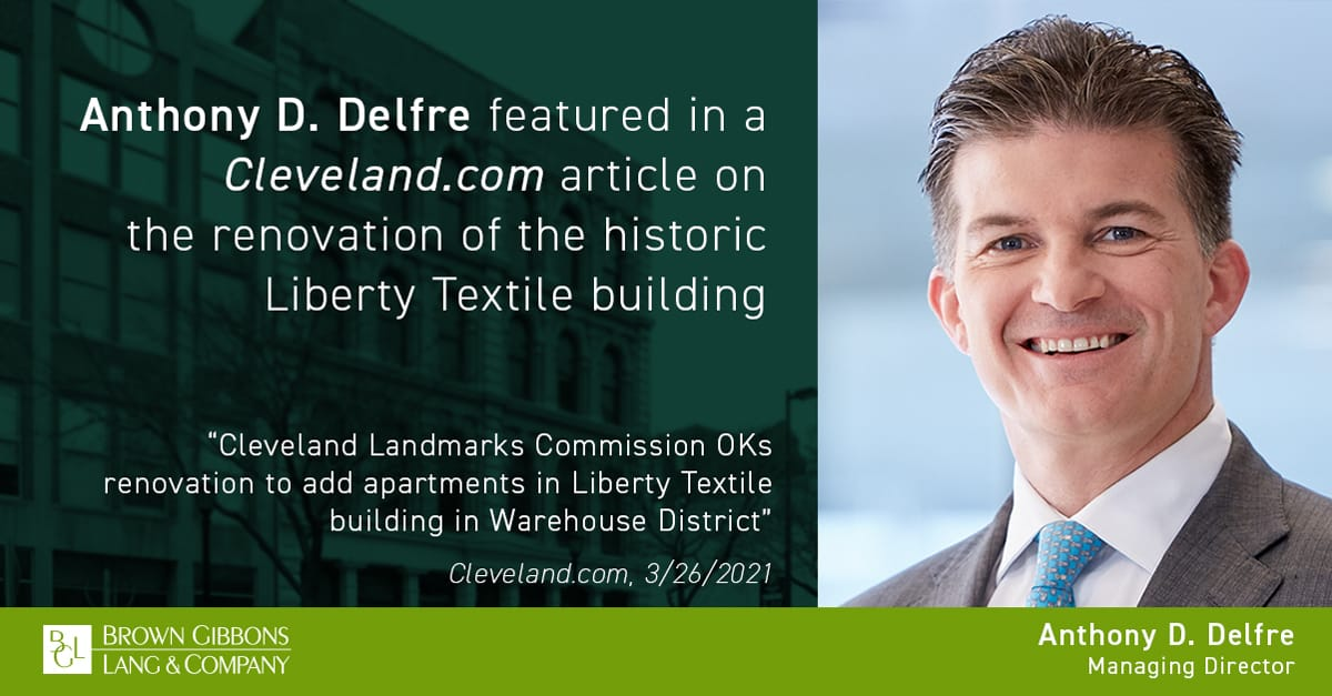"""Image for Anthony D. Delfre featured in, """"Cleveland Landmarks Commission OKs renovation to add apartments in Liberty Textile building in Warehouse District,"""" Cleveland.com Media Coverage"""