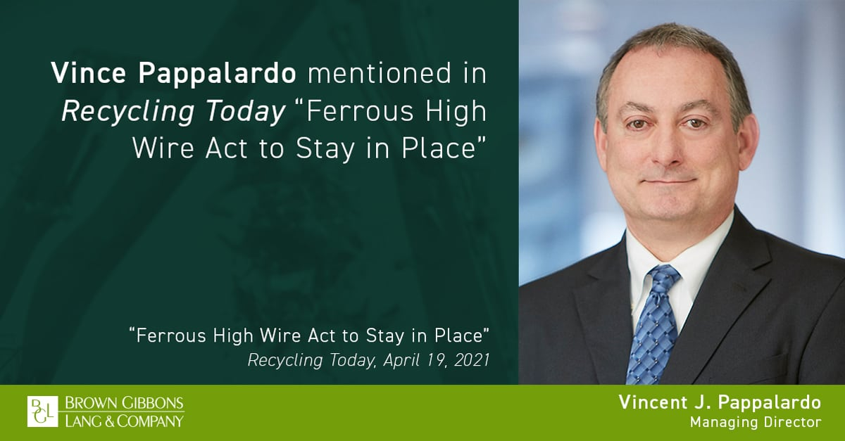 """Image for Vince Pappalardo mentioned in, """"Ferrous High Wire Act to Stay in Place,"""" Recycling Today Media Coverage"""