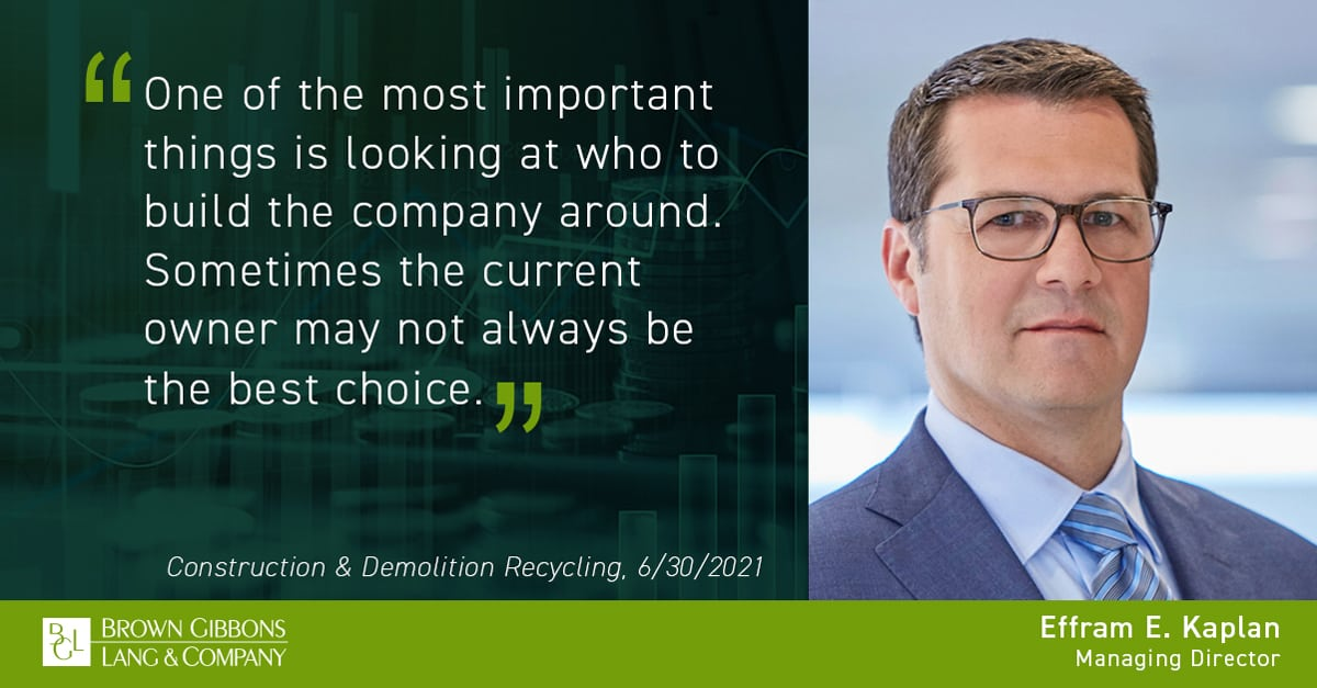 """Image for Effram E. Kaplan quoted in, """"WasteExpo 2021: Business Leadership Forum provides positive outlook for industry,"""" Construction & Demolition Recycling Media Coverage"""