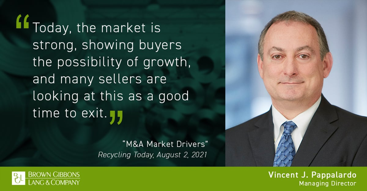 """Image for Vince Pappalardo authors article, """"M&A Market Drivers"""" for Recycling Today Media Coverage"""